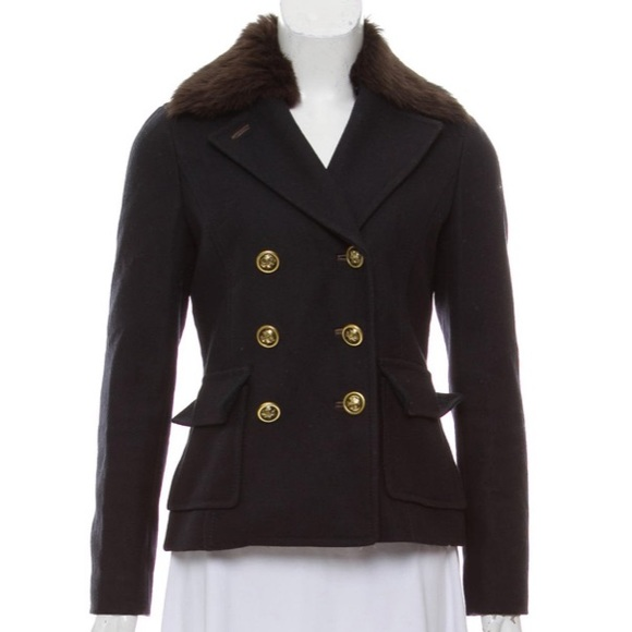 Tory Burch Jackets & Blazers - Tory Burch navy blue wool & fur trim peacoat sz 6